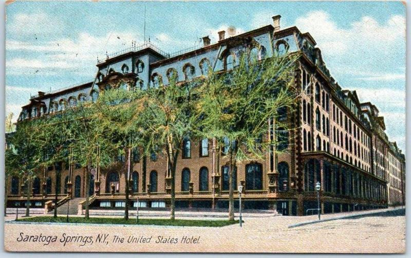 Saratoga Springs, NY Postcard The United States Hotel Street View 1912 Cancel