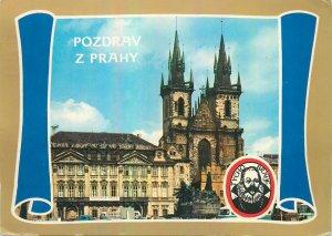 Postcard CZECH REPUBLIC pozdrav prahy church tower statue monument square Praha