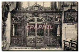 Postcard Old Church St Maclou Pontoise The baptismal font