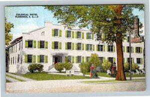 Florence SC, Colonial Hotel, Linen South Carolina Postcard