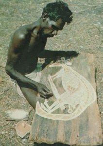 Australia Aborigine Painting A Bark Kangaroo Postcard