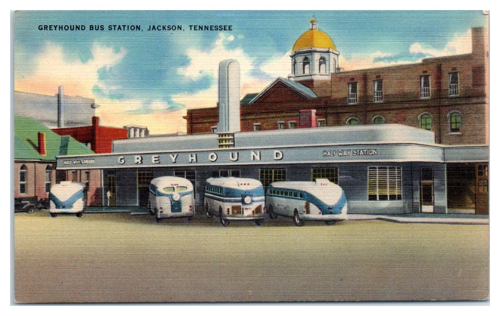 Mid 1900s Greyhound Bus Station Jackson Tn Postcard Hippostcard