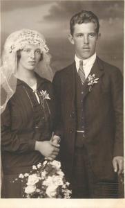 Wedding photo postcard Max Ketzler Innsbruck Austria groom & bride