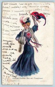 Postcard College Girls Hoo-rah Pennsylvania Woman With Penn Pendant 1906 T7
