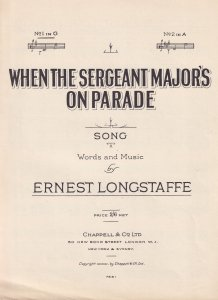 When The Sergeant Majors On Parade Ernest Longstaff Olde Sheet Music