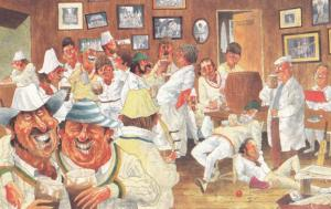 Cricket Team Totally Drunk in Pub Inn After Victory Photo Comic Humour Postcard
