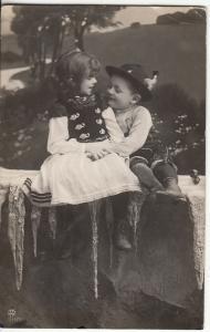 Children couple hungarian types folk costumes photo postcard 1906