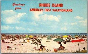 1960s Rhode Island Postcard Bathing Beach Scene America's First Vacationland