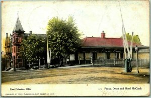 East Palestine, Ohio Postcard Pennsylvania Depot & HOTEL McCOMB 1907 Cancel