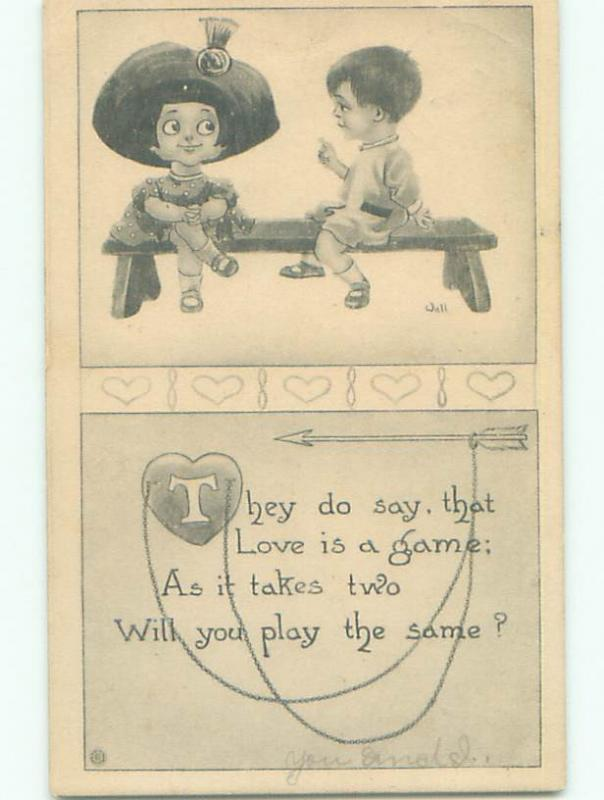 Pre-Linen valentine signed CUTE GIRL IN BIG HAT WITH BOY ON BENCH k5967