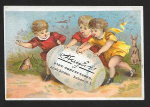 VICTORIAN TRADE CARD Huylers Confections Kids Rolling Huge Egg & Rabbit