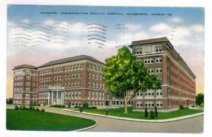 Coffeyville, Kansas to Brewster, Massachusetts 1945 used Postcard, VA Hospital