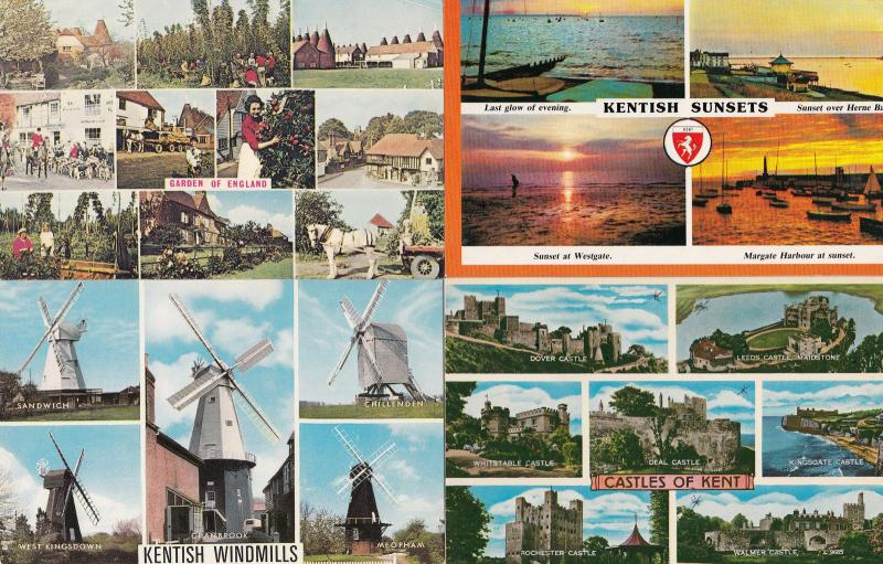 Kentish Sunsets Windmills Gardens Castles 4x Culture Postcard s