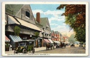 Newport Rhode Island~Bellevue Avenue South~Casino~Horse & Buggies Outside~1918