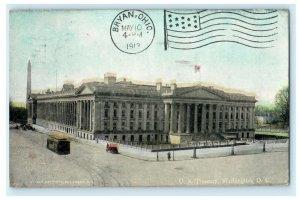US Treasury Washington DC Terminal Station Cancel 1913 Vintage Antique Postcard