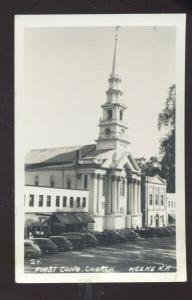 RPPC KEENE NEW HAMPSHIRE CONGREGATIONAL CHURCH OLD CARS REAL PHOTO POSTCARD