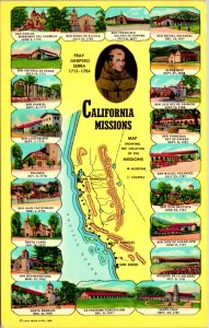 Spanish Missions Maps California Postcard used (20105)
