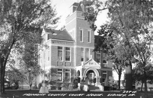 Sidney Iowa~Fremont Co Courthouse~Fancy Entrance~Flag Pole in Concrete~RPPC 1950