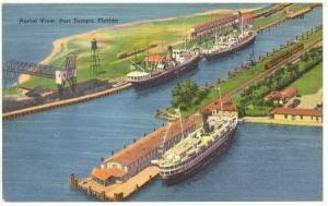 Steamer, Aerial View, Port Tampa, Florida, 1930-1940s