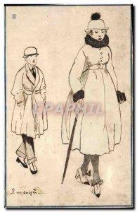Old Postcard Fantasy Illustrator (drawing hand) Woman