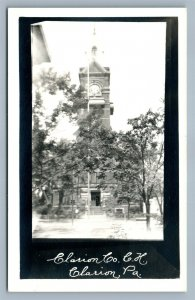 CLARION PA COUNTY COURT HOUSE ANTIQUE REAL PHOTO POSTCARD RPPC