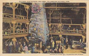 Old Faithful Inn Lobby Yellowstone National Park Wyoming Curteich