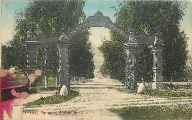 Cemetery Entrance Franklin NY New York Postcard