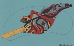Haida Indians rattle of carved wood , 1958
