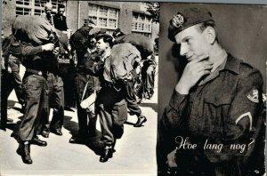 Military Dutch postcard Hoe lang nog? RPPC 3.30