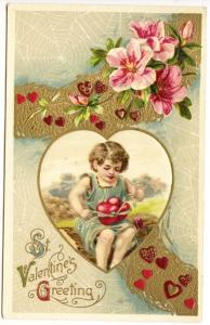 Valentine Greeting Child Ties two Hearts Together Postcard