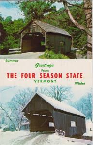 Vermont  Warren covered  bridge viewed in summer and winter
