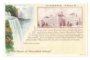 Niagara Falls Home of Shredded Wheat Advertising ca 1925
