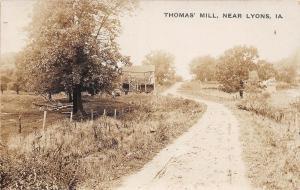 D5/ Lyons Iowa Ia Real Photo RPPC Postcard c1910 Thomas' Mill River