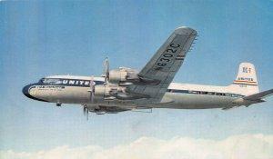 United Air Lines DC-7, Circa 1950's Postcard, Unused