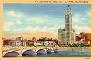 Ohio Columbus Municipal Buildings and A I U Citadel 1946 Curteich