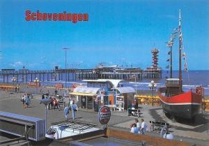 Netherlands Scheveningen Boulevard met Pier Promenade Boats