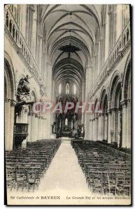 Old Postcard Bayeux Cathedral of La Grande Nef and Roman Arcade