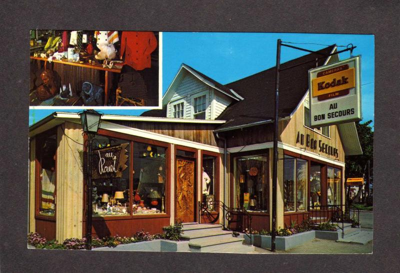 PQ Au Bon Secours Magasin Perce Quebec Canada Carte Postale Kodak Sign Rouet QC