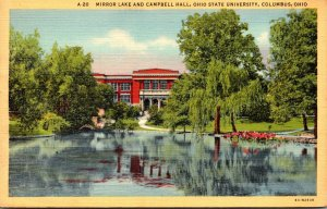 Ohio Columbus Mirror Lake and Campbell Hall Ohio State University 1942 Curteich