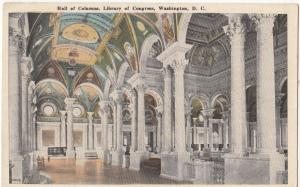 Hall of Columns, Library of Congress, Washington DC, unused Postcard