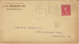 MOORESTOWN NJ - J S ROGERS COMPANY - #6 envelope FLAG cancel 1915 / Contractor
