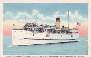Michigan Mackinac Island Steamer Algomah II Railway Ferry Curteich