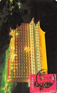 Taipei Taiwan birds eye view The Grand Hotel at night vintage pc Z45639