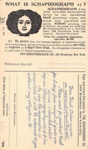New York City~Schapirograph Duplicating Machine~Purple/Black~Postal~20 CPM~1903