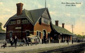 Pere Marquette Depot, Flint, Michigan, MI, USA Railroad Train Depot Postcard ...