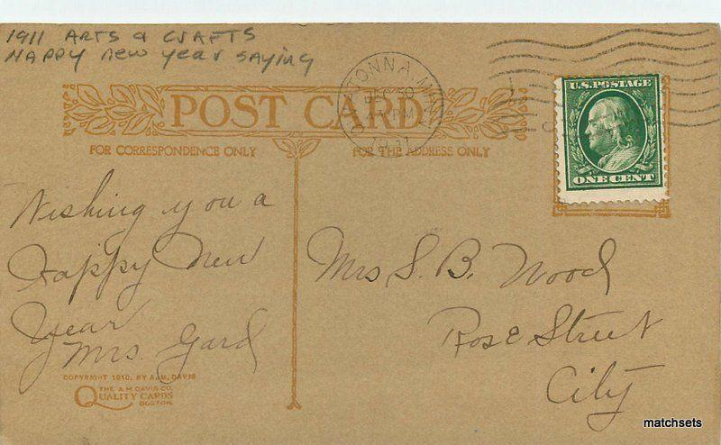 1911 arts crafts happy new year saying 1911 postcard 11566 davis