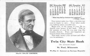 St Paul MN~Twin City State Bank~Nov Dec Calendar~Ralph Emerson~Bible Verse~1910
