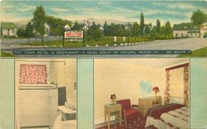 1953 Tiny Town Motel Restaurant Natural Bridge Virginia Linen Postcard 20-692
