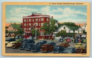 Postcard DE Rehoboth Beach Delaware Hotel Carlton Old Cars #2 X5
