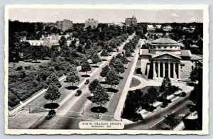 Baltimore Maryland~North Charles Street~Bldg w/Dome & Columns~1930s Cars B&W